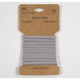 Classic Flat Elastic, 5mm Silver - 3m