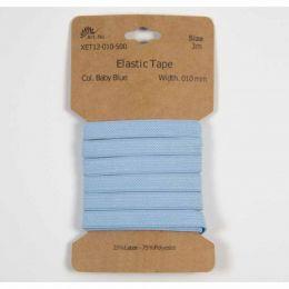 Classic Flat Elastic, 10mm Baby Blue - 3m