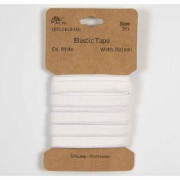 Classic Flat Elastic, 10mm White - 3m