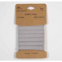 Classic Flat Elastic, 10mm Silver - 3m