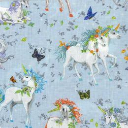 Pretty Please Fabric   Unicorns Blue