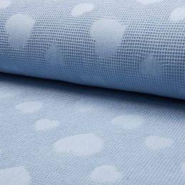 Jacquard Cotton Waffle Fabric | Heart Dusty Blue