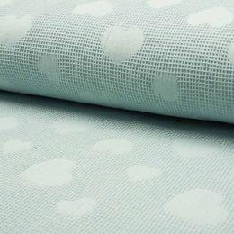 Jacquard Cotton Waffle Fabric | Heart Dusty Mint