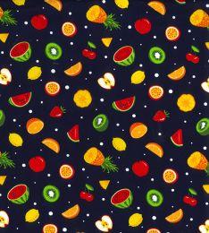 Cotton Print Fabric   Fruit Tasties Navy