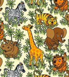 Cotton Print Fabric   Jungle Friends