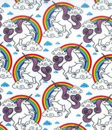Cotton Print Fabric | Rainbow Unicorn Ivory