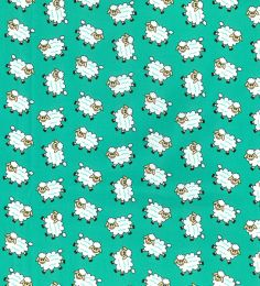 Cotton Print Fabric | Happy Sheep Jade