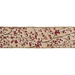 Premium Wire Edged Ribbon | Snow Berries, 63mm