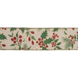 Premium Wire Edged Ribbon | Holly & Berries, 63mm