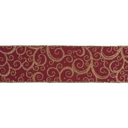 Premium Wire Edged Ribbon | Gold Filigree, 63mm