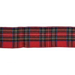 Premium Wire Edged Ribbon | Red Tartan, 63mm