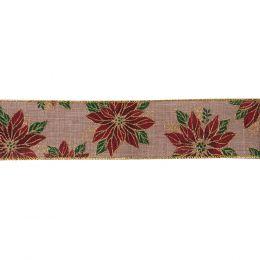 Premium Wire Edged Ribbon | Poinsettia, 63mm