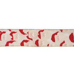Premium Wire Edged Ribbon | Santa, 63mm