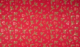 Jersey Cotton | Christmas Holly Bells Red - Foil