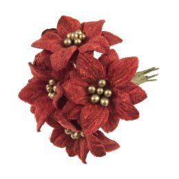 Christmas Embellishments | Velvet Poinsettias, 6pcs