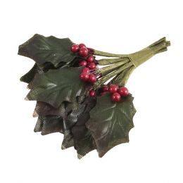 Christmas Embellishments | Holly Leaves & Berries, 9pcs