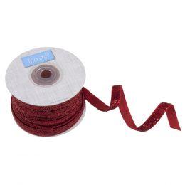 Glitter Velvet Ribbon, 10mm | Red