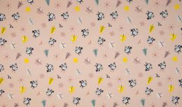 Jersey Cotton Fabric | Snowflake Funky Bird Dusty Pink