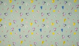 Jersey Cotton Fabric | Snowflake Funky Bird Dusty Green