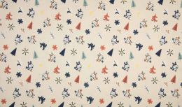 Jersey Cotton Fabric | Snowflake Funky Bird Sand