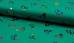 Jersey Cotton Metallic | Foil Rainbow Green