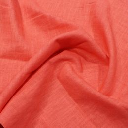 Premium Enzyme Washed Linen Fabric   Coral