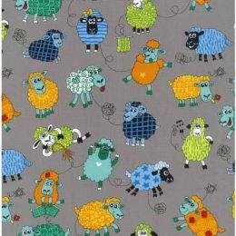 Farm Fun Fabric   Sheeps Grey