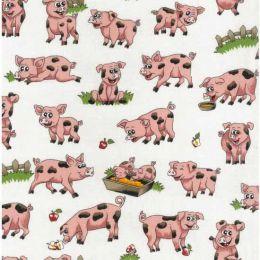 Farm Fun Fabric   Pigs Cream