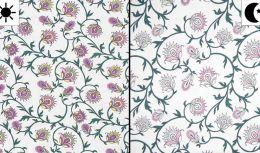 Light Reactive Jersey Fabric | Glitter Flowers White