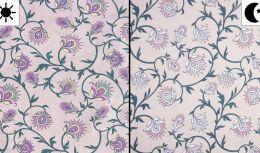 Light Reactive Jersey Fabric   Glitter Flowers Dusty Pink