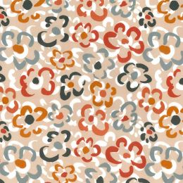 21W Babycord Fabric | Abstract Flowers Coffee