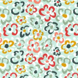 21W Babycord Fabric | Abstract Flowers Mint