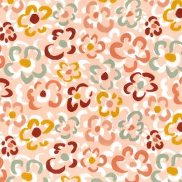 21W Babycord Fabric   Abstract Flowers Peach