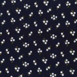 21W Babycord Fabric | Daisy Cluster Navy