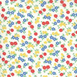 Moda 30s Playtime Fabric   Little Flowers Eggshell