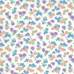 Moda 30s Playtime Fabric   Little Flowers Eggshell Pastel