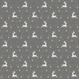 Scandi Christmas Makower Fabric | Reindeer Grey