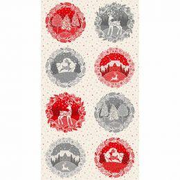 Scandi Christmas Makower Fabric | Circle Pannel