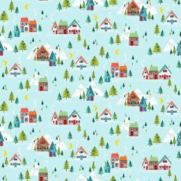 Santa Express Makower Fabric   Scenic Turquoise