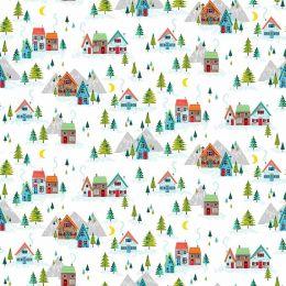 Santa Express Makower Fabric | Scenic White