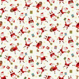 Santa Express Makower Fabric | Santa Cream