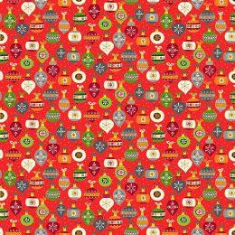 Santa Express Makower Fabric | Baubles Red