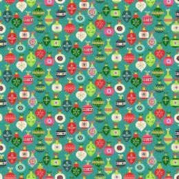 Santa Express Makower Fabric | Baubles Turquoise