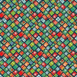 Santa Express Makower Fabric | Presents Blue