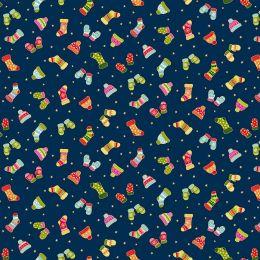 Santa Express Makower Fabric | Mittens Blue