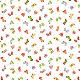 Santa Express Makower Fabric | Mittens Cream