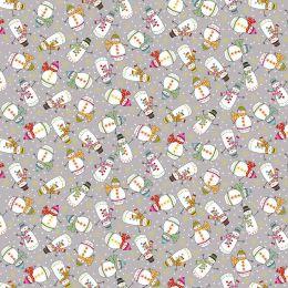 Santa Express Makower Fabric | Snowman Grey