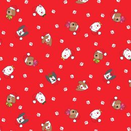 Yappy Christmas Makower Fabric | Yappy Dogs Heads Red