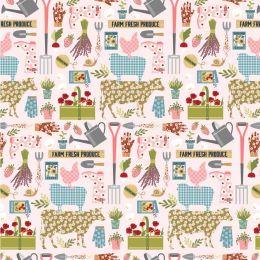 Farm Girls Unite Fabric | Country Life Pink