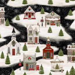 Home For The Holidays Fabric   Village Black